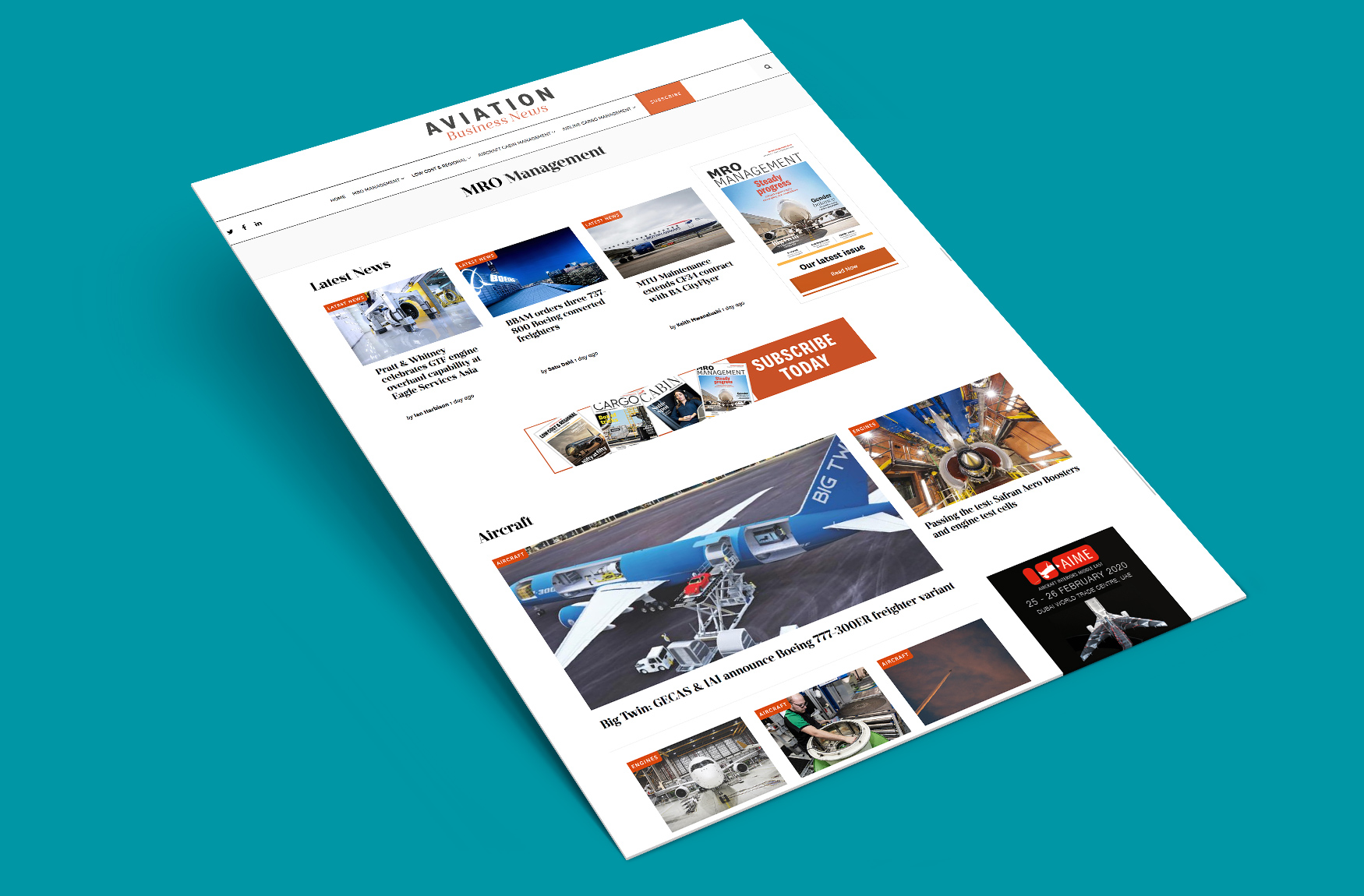 Aviation Business News landing page